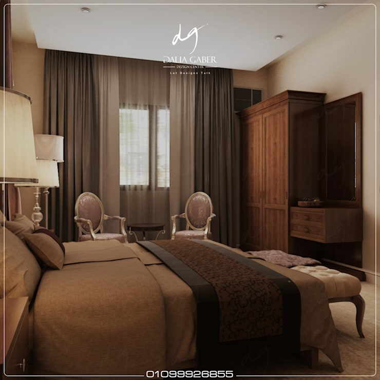 Hotel Bedroom Design by Dalia Gaber Dezigncenter office :  تصميم مساحات داخلية تنفيذ DeZign center office by Dalia Gaber