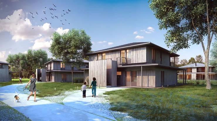 Maisons mitoyennes de style  par Fraher Group Pilar, Moderne Bois Effet bois