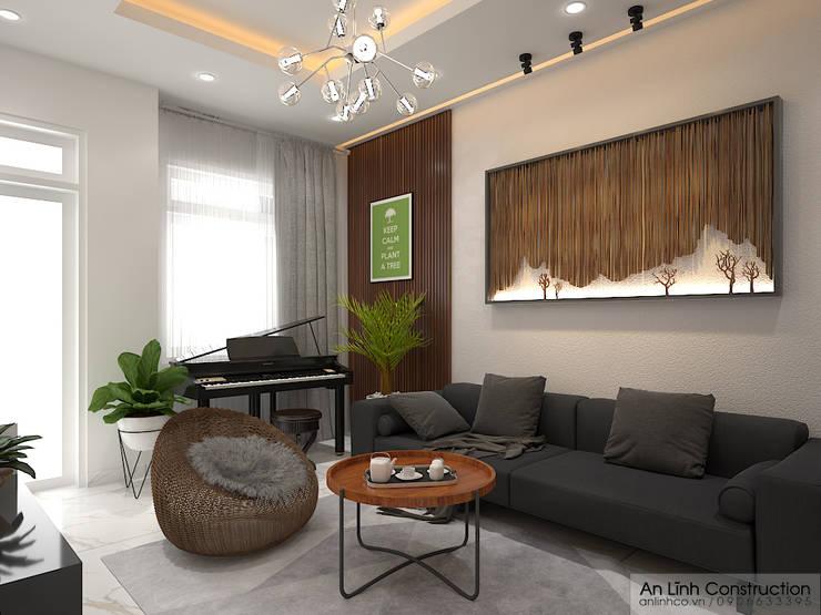 Phòng khách:   by CÔNG TY THIẾT KẾ XÂY DỰNG AN LĨNH