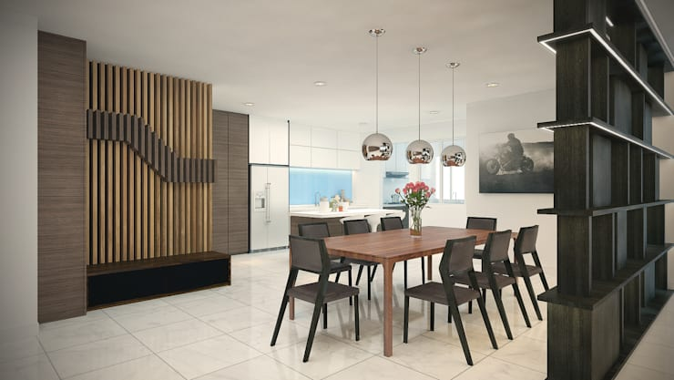 Subang Parkhomes:  Dining room by Yucas Design & Build Sdn. Bhd.