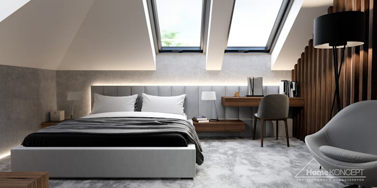 Cuartos de estilo  por HomeKONCEPT | Projekty Domów Nowoczesnych, Moderno