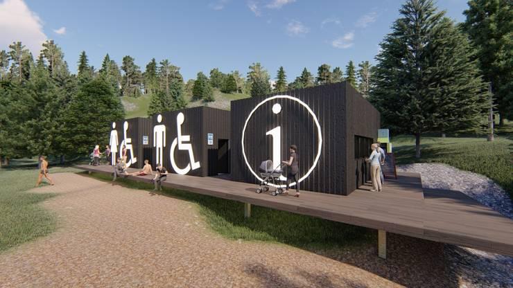 Frente de Area de Oficina Turística y Baños públicos: Casas de estilo  por Tila Design,