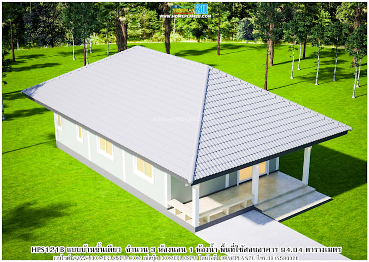 แบบแปลนบ้านชั้นเดียว HPS121B:   by แบบแปลนบ้านสำเร็จรูป