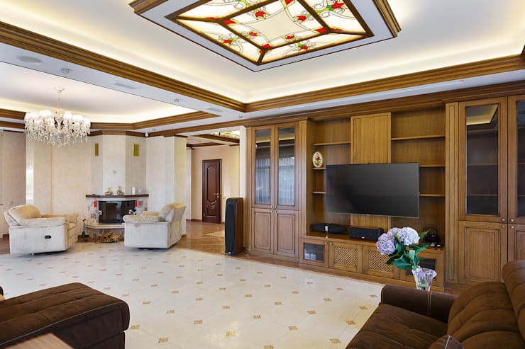 «Солнечная Резиденция», Дом в Румболово, 260 м.кв.: Гостиная в . Автор – Дизайн элитного жилья | Студия Дизайн-Холл