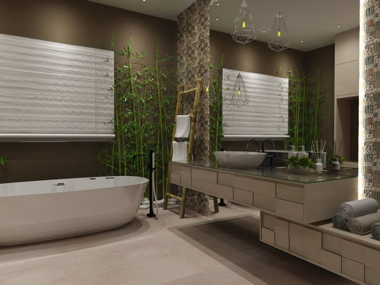 WC Apoio aos Quartos: Casas de banho  por Angelourenzzo - Interior Design