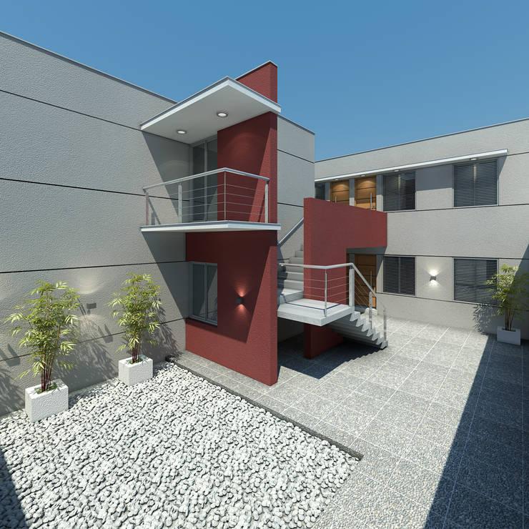 Complejo de departamentos.: Casas de estilo  por Agustín Reyes - Zoom Arquitectura.,