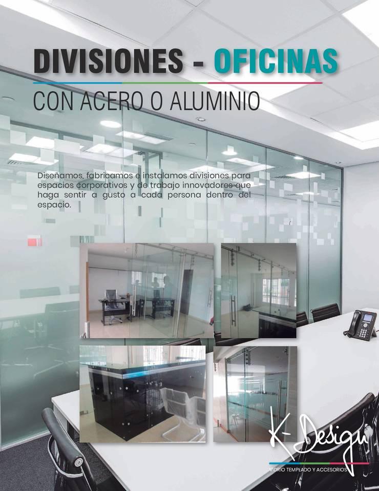 Soluciones en vidrio templado: Estudios y despachos de estilo  por .K-Design arquitectura y diseño interior