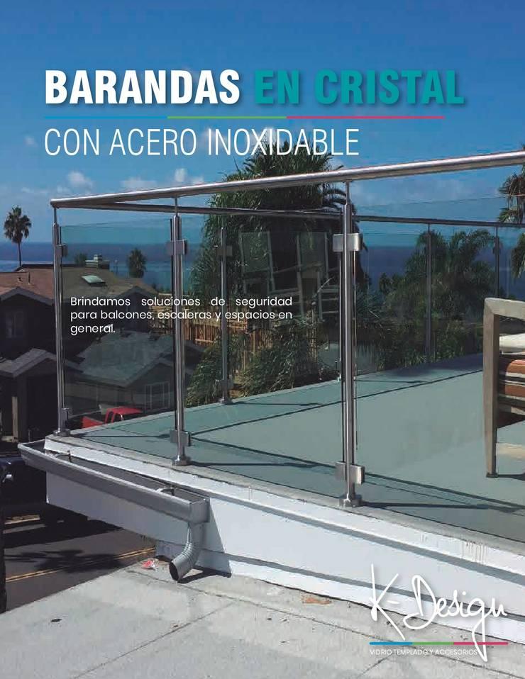 Soluciones en vidrio templado: Escaleras de estilo  por .K-Design arquitectura y diseño interior