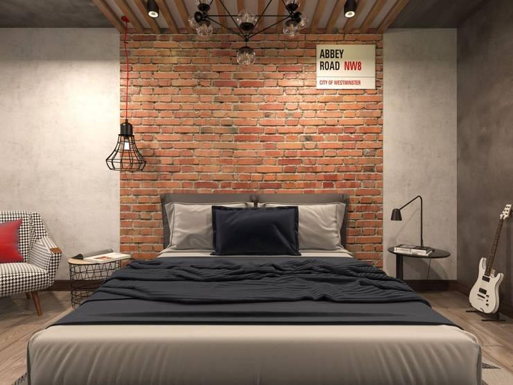 Трехкомнатная квартира в стиле лофт: Спальни в . Автор – Rerooms