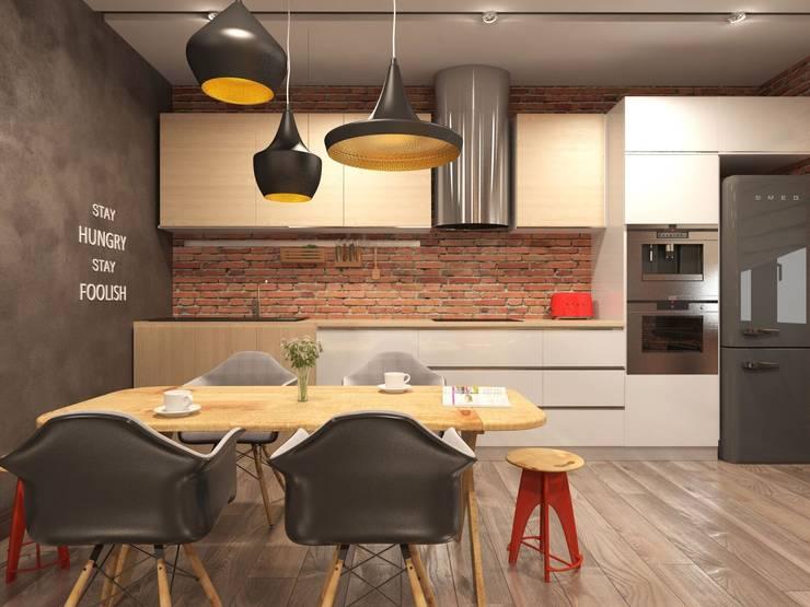 Трехкомнатная квартира в стиле лофт: Кухни в . Автор – Rerooms