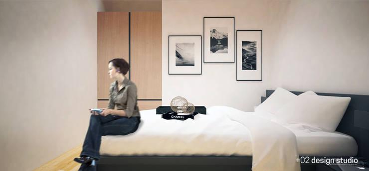 Slice House:  Bedroom by Plus Zero Two Design Studio
