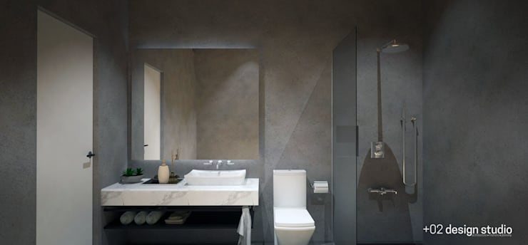 Slice House:  Bathroom by Plus Zero Two Design Studio