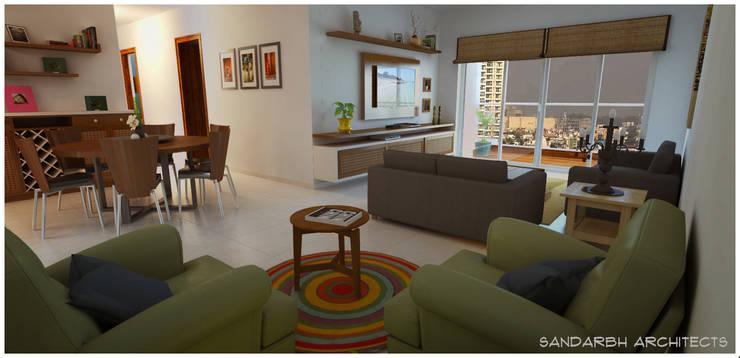 Living room:  Living room by Sandarbh Design Studio