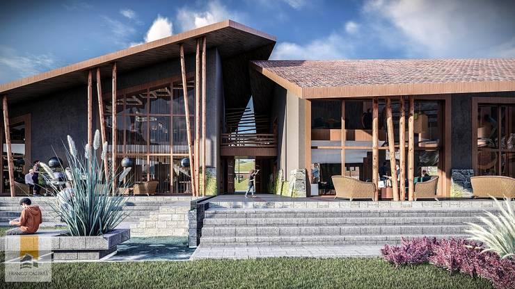 Fachada Interior: Restaurantes de estilo  por FRANCO CACERES / Arquitectos & Asociados