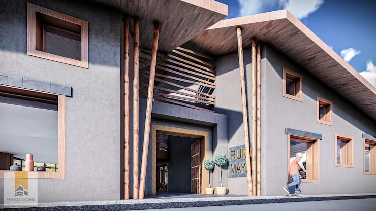 Restaurant Yucay: Restaurantes de estilo  por FRANCO CACERES / Arquitectos & Asociados