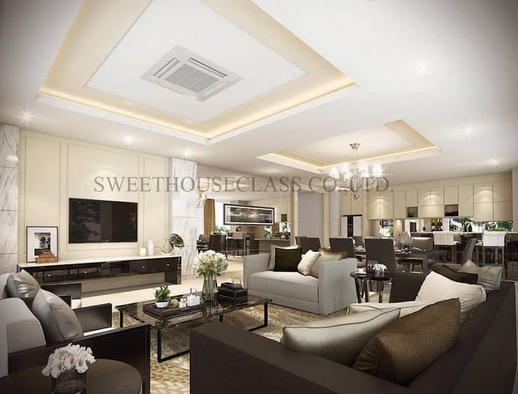 ห้องนั่งเล่น:  ตกแต่งภายใน by Sweethouseclass Co.,Ltd.