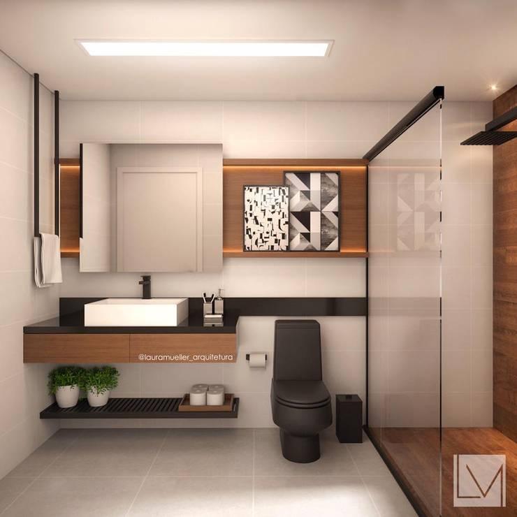Banheiro moderno: Banheiros modernos por Laura Mueller Arquitetura + Interiores