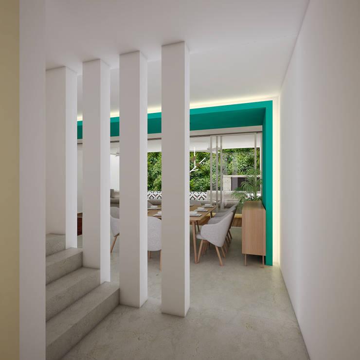 vestíbulo de acceso:  de estilo  por studio arquitectura | Despacho de arquitectos | Cancún