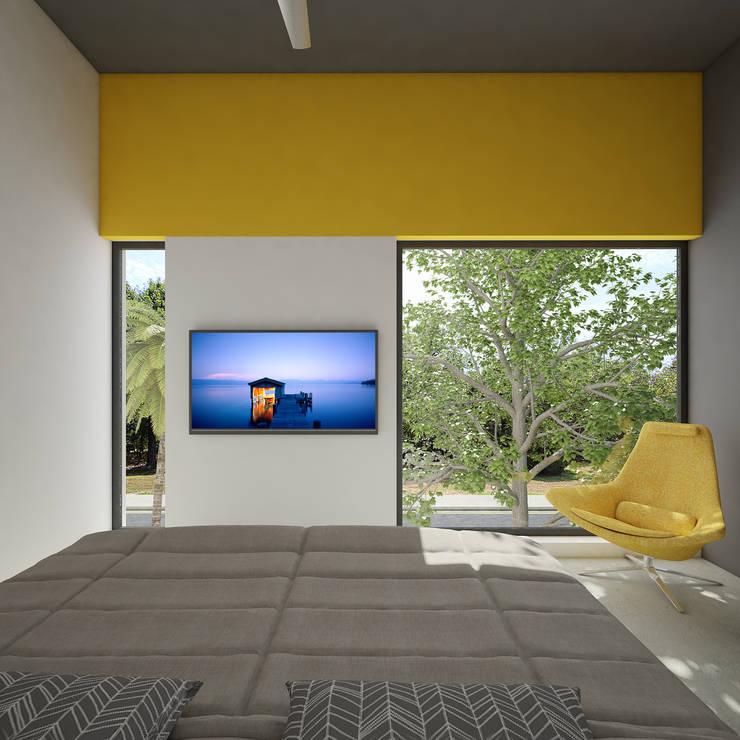 recamara principal:  de estilo  por studio arquitectura | Despacho de arquitectos | Cancún
