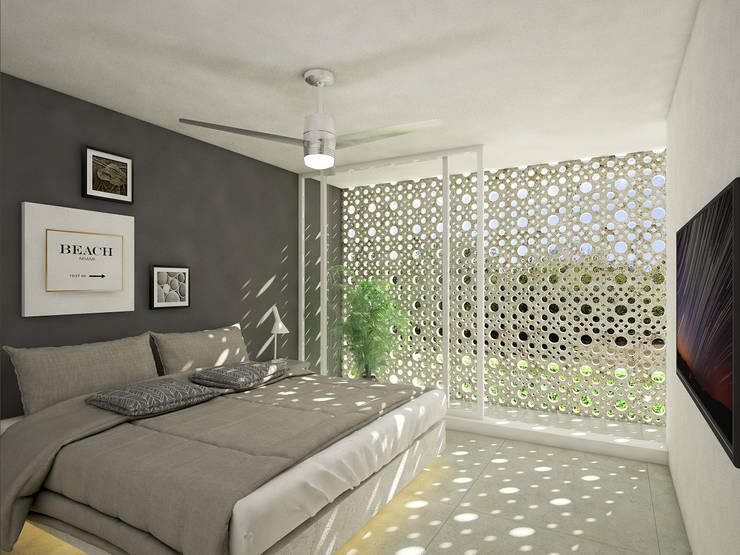 recamara 2:  de estilo  por studio arquitectura | Despacho de arquitectos | Cancún