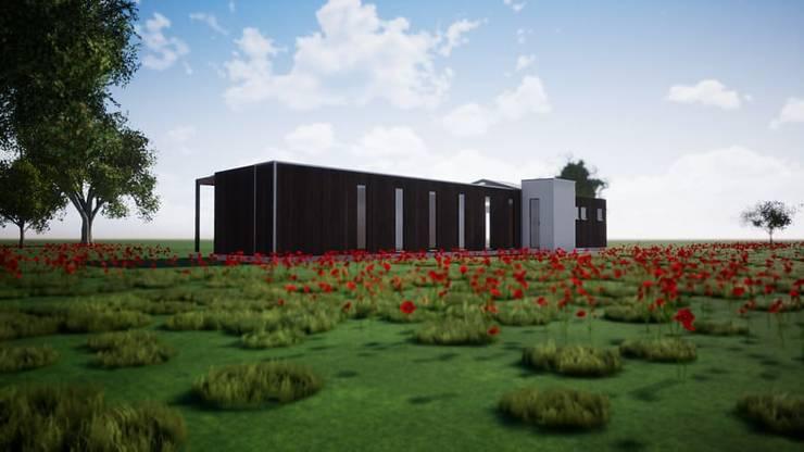Fachadas sur y poniente.: Casas ecológicas de estilo  por BIM Urbano, Minimalista Hierro/Acero