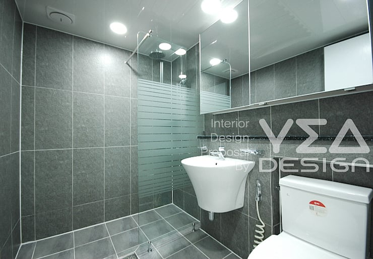 시크함이 묻어나는 모던욕실 만들기: 예아디자인   [주]디자인그룹예아의  욕실,
