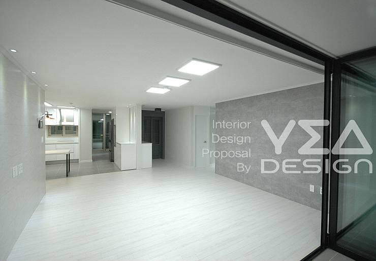 파스텔그레이색상의 거실만들기: 예아디자인   [주]디자인그룹예아의  거실,