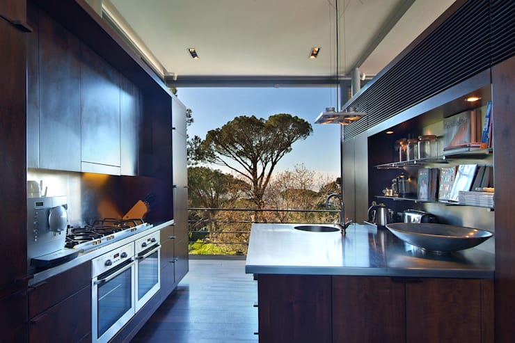 View of Kitchen:  Built-in kitchens by Van der Merwe Miszewski Architects