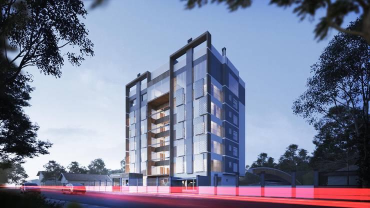 Fachada principal e lateral:   por Rodrigo Santos Arquitetura