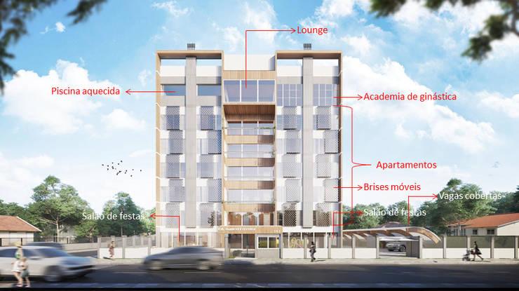 Fachada e suas ocupações internas:   por Rodrigo Santos Arquitetura
