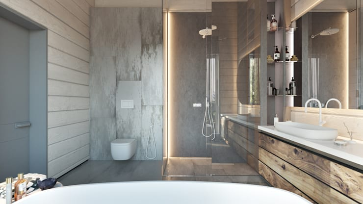 Дизайн интерьера коттеджа Ласковый май от студии Suite n.7: Ванные комнаты в . Автор – Suiten7
