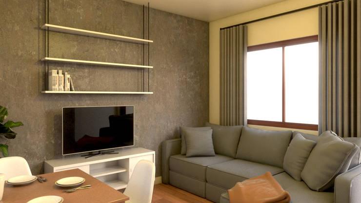 Unit 2 Studio Type Apartment:  Living room by MG Architecture Design Studio