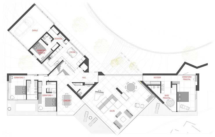 Layout - planta distribución baja: Salones de estilo minimalista de Studioapart