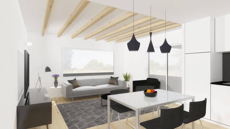 Vista da área social da casa.: Salas de estar  por Estúdio AMATAM