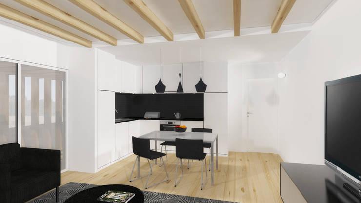 Vista da cozinha.: Cozinhas  por Estúdio AMATAM