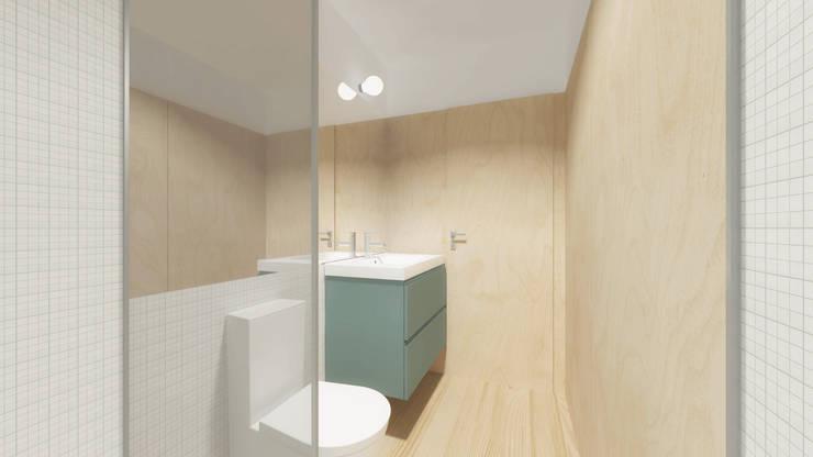 Visualização da instalação sanitária: Casas de banho  por Estúdio AMATAM