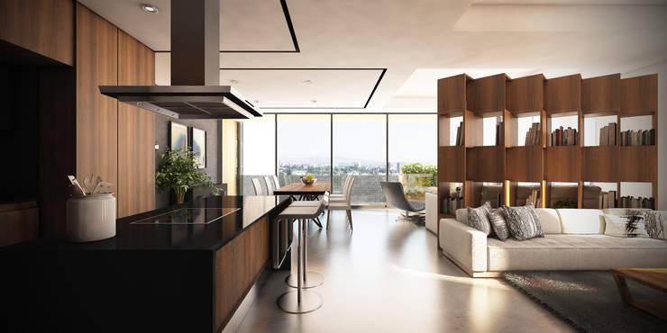 Cocina abierta: Muebles de cocinas de estilo  por Stuen Arquitectos