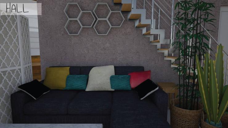 Hall - Render 3D: Livings de estilo  por Mica Chapado