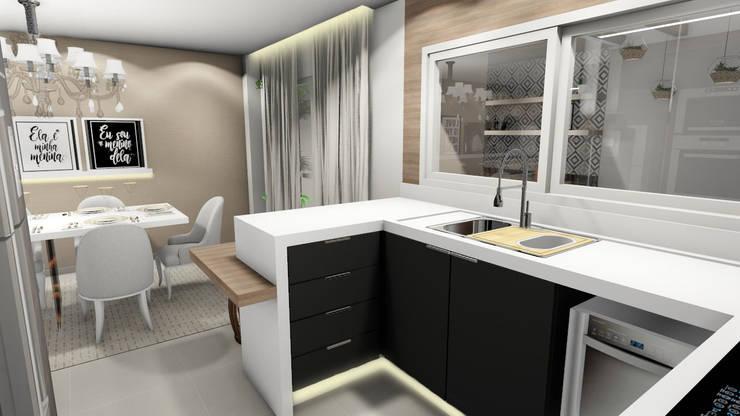 Cozinha integrada: Armários e bancadas de cozinha  por Studio²