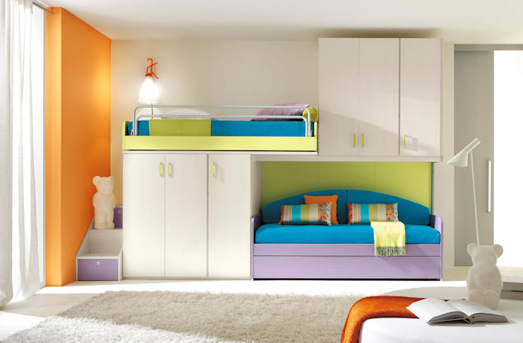 Furlan camera da bambino con soppalco: Camera da letto in stile  di ROOM 66 KITCHEN&MORE