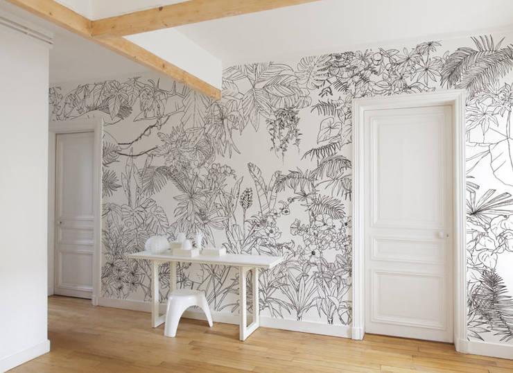 papier peint jungle tropical noir et blanc par ohmywall. Black Bedroom Furniture Sets. Home Design Ideas