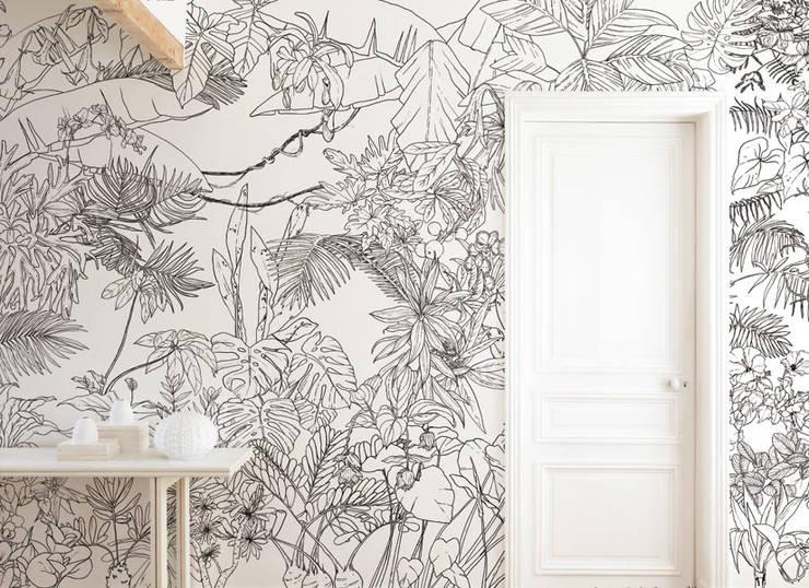 Papier Peint Jungle Tropical Noir Et Blanc By Ohmywall Homify