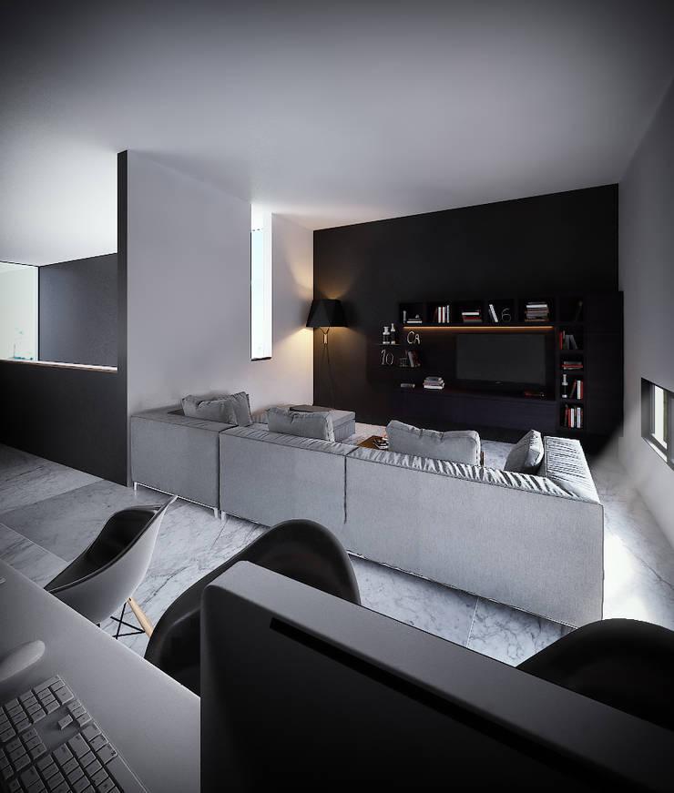 Sala TV/Estudio: Salas multimedia de estilo  por RTstudio