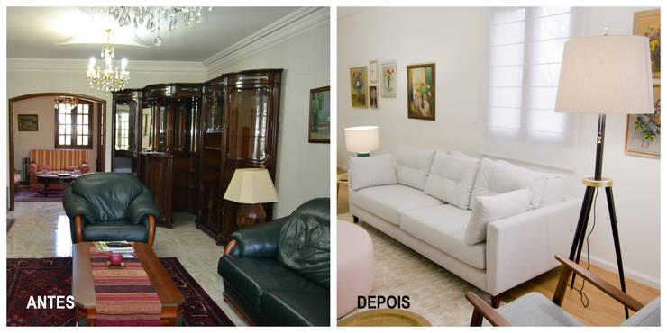 Renovação sala de estar Tangerinas & Pêssegos:   por Tangerinas e Pêssegos - Design de Interiores & Decoração no Porto