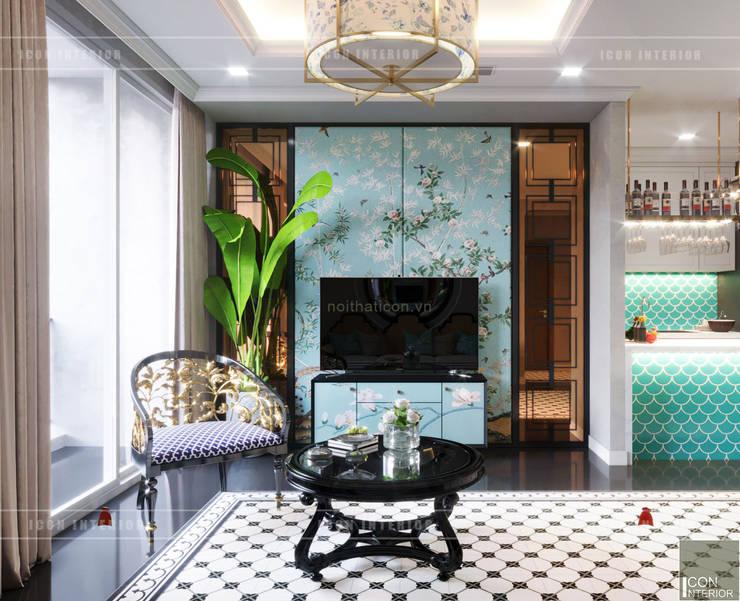 Thiết kế phong cách Đông Dương cùng sắc xanh độc đáo - Park Hill:  Phòng khách by ICON INTERIOR