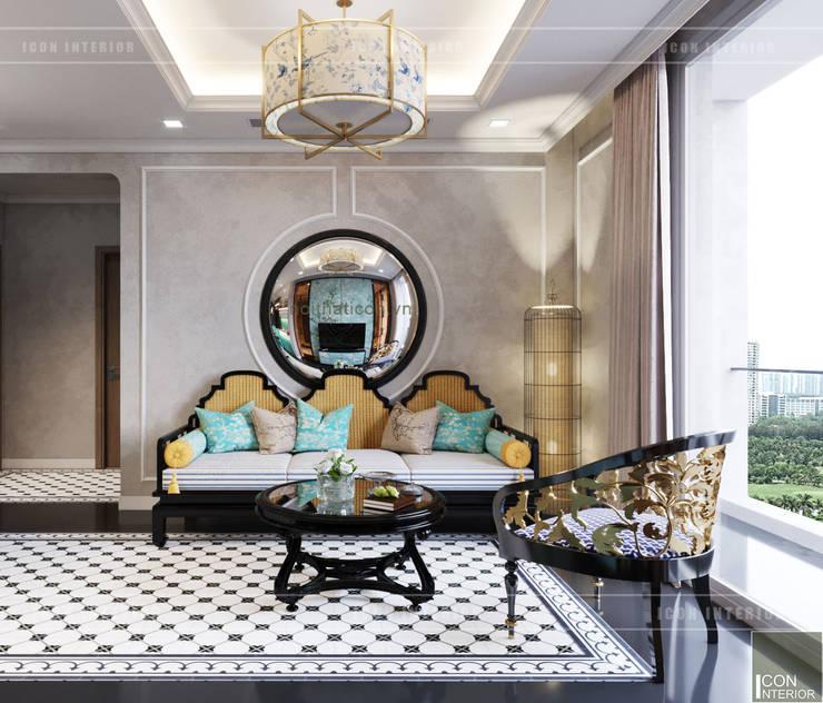 Thiết kế phong cách Đông Dương cùng sắc xanh độc đáo – Park Hill:  Phòng khách by ICON INTERIOR