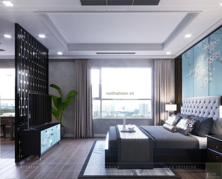 Thiết kế phong cách Đông Dương cùng sắc xanh độc đáo – Park Hill:  Phòng ngủ by ICON INTERIOR