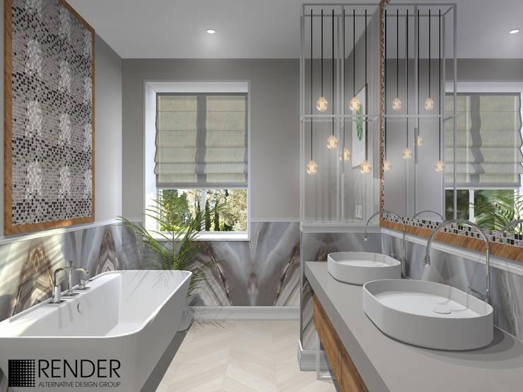 Интерьер частного дома в Скандинавском стиле: Ванные комнаты в . Автор – RENDER