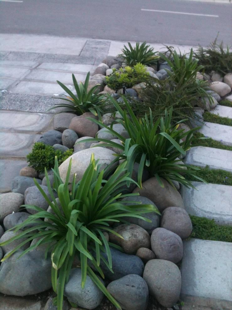 Detalle acceso casa Condominio Los Litres, Lo Barnechea: Jardines de estilo  por Bächler Paisajismo
