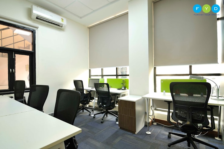 Let's Work—Coworking Space in Noida:  Office buildings by FYD Interiors Pvt. Ltd,Eclectic